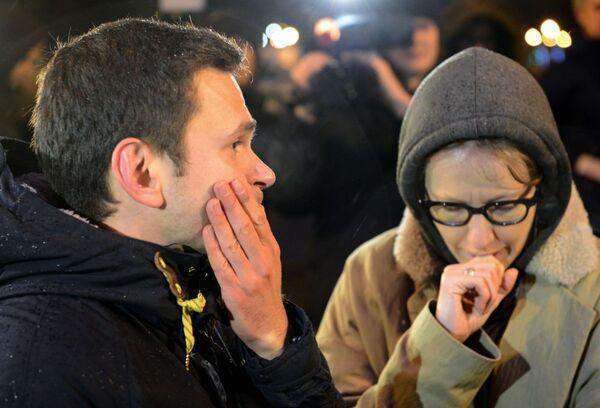 Opozycjonista Ilja Jaszyn i dziennikarka  Ksienija Sobczak na Dużym Moście Moskworeckim w centrum Moskwy, gdzie został zamordowany Borys Niemcow - Sputnik Polska