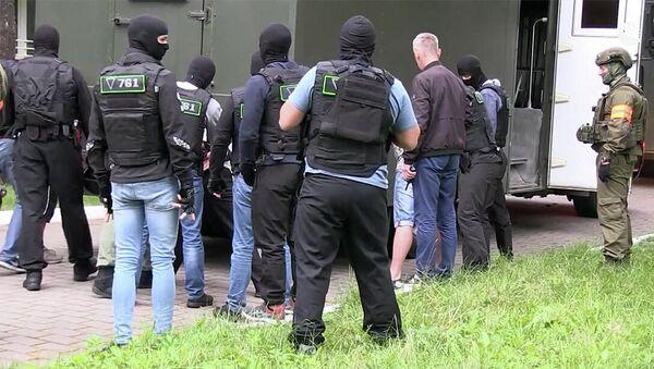 Kadr z operacyjnego nagrania z zatrzymania rzekomo 32 członków prywatnej firmy wojskowej na Białorusi - Sputnik Polska