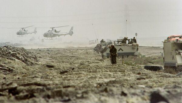 Saudyjscy żołnierze w Kuwejcie, 25 lutego 1991 r. - Sputnik Polska