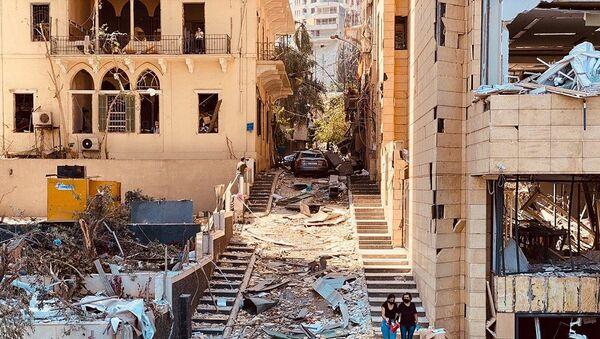 Sytuacja na miejscu wybuchu w Bejrucie w Libanie - Sputnik Polska