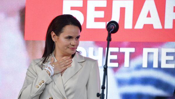 Kandydatka na prezydenta Białorusi Swietłana Cichanouska podczas wiecu przedwyborczego w Parku Przyjaźni w Mińsku - Sputnik Polska