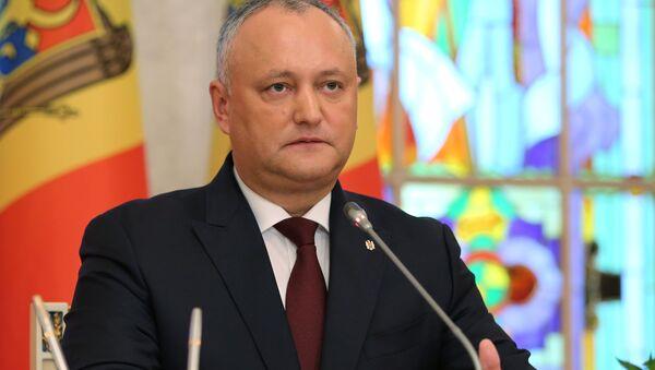 Prezydent Mołdawii Igor Dodon podczas wspólnej konferencji w Kiszyniowie z prezydentem Turcji Recepem Tayyipem Erdoganem - Sputnik Polska
