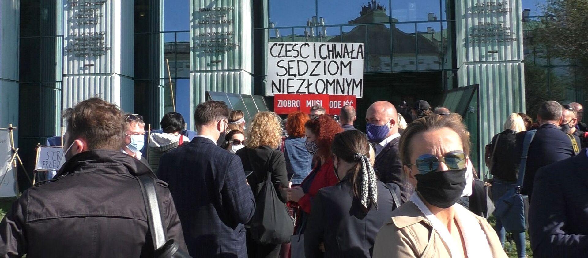 Protest wsparcia dla sędziego Igora Tulei w Warszawie - Sputnik Polska, 1920, 05.10.2020