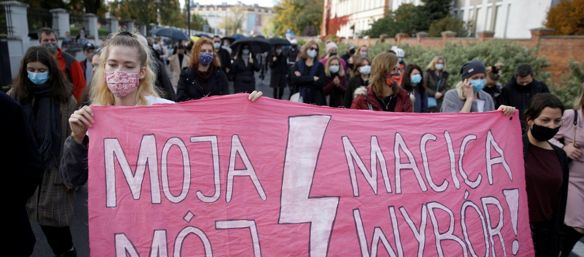 Protesty przeciwko zaostrzeniu przepisów dotyczących aborcji w Polsce, Gdańsk - Sputnik Polska, 1920, 06.11.2020