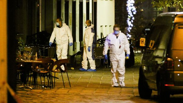 Śledczy na miejscu strzelaniny, Wiedeń - Sputnik Polska