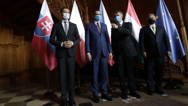 Premier Słowacji Igor Matovič, premier Polski Mateusz Morawiecki, premier Republiki Czeskiej Andrej Babiš i premier Węgier Viktor Orbán - Sputnik Polska