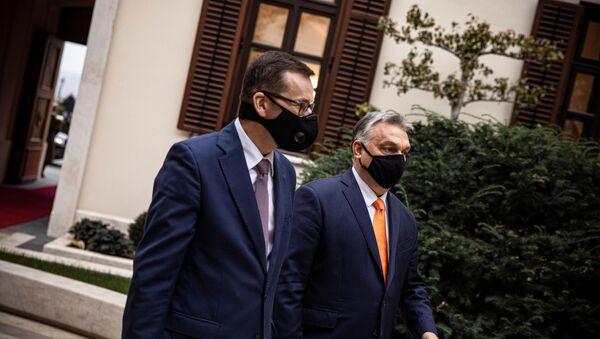 Mateusz Morawiecki na spotkaniu z Viktorem Orbanem w Budapeszcie - Sputnik Polska