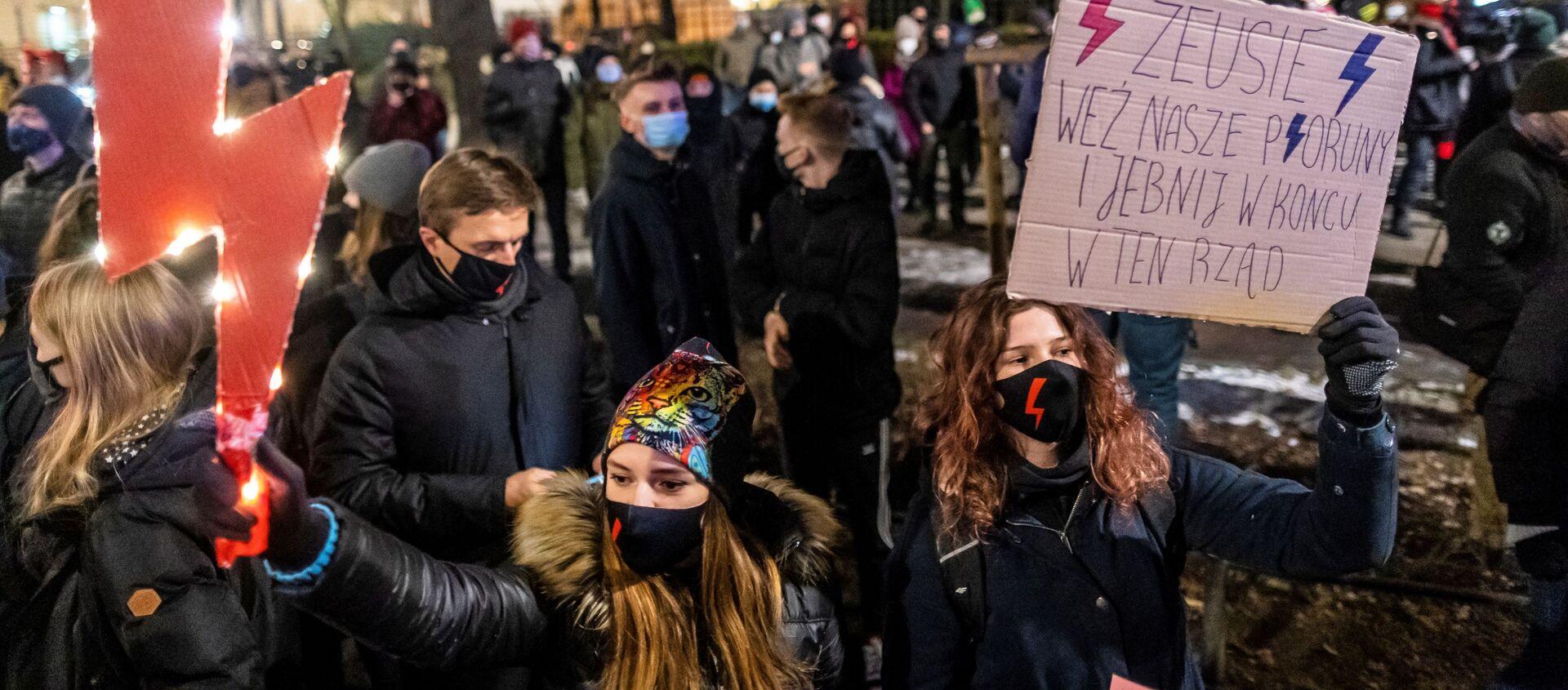 Protesty w Warszawie 27 stycznia 2021 roku po zaostrzeniu prawa aborcyjnego w Polsce - Sputnik Polska, 1920, 10.02.2021