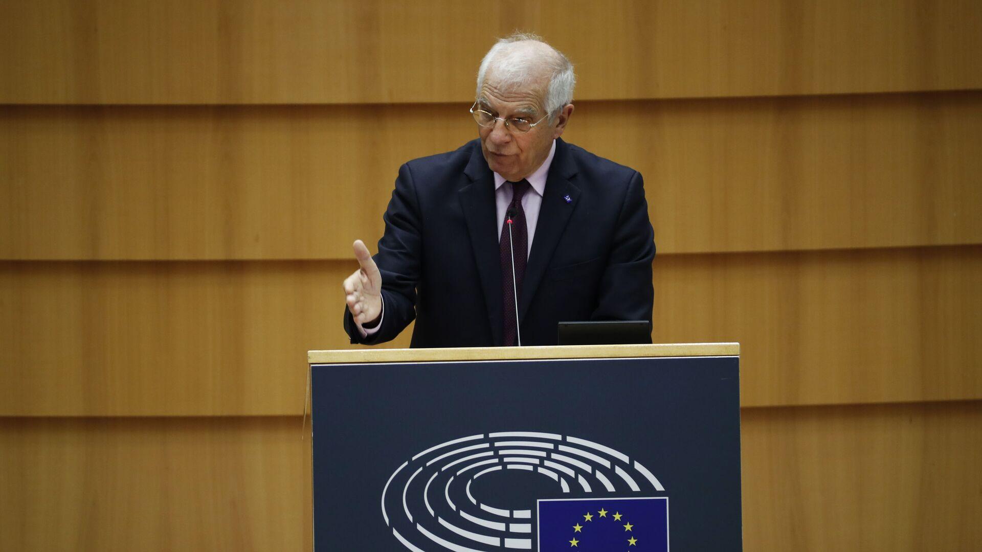 Wysoki Przedstawiciel UE ds. Polityki Zagranicznej i Bezpieczeństwa Josep Borrell przemawia w Parlamencie Europejskim - Sputnik Polska, 1920, 30.03.2021
