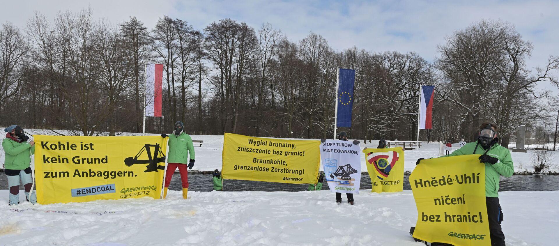 Międzynarodowy protest przeciwko rozbudowie kopalni Turów i działalności elektrowni na Trójstyku granic Polski, Czech i Niemiec  - Sputnik Polska, 1920, 16.02.2021