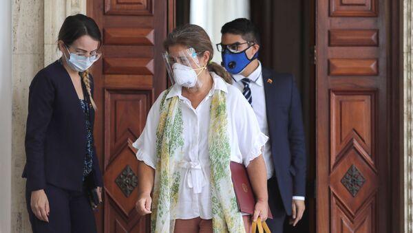 Szefowa unijnej Komisji dyplomatycznej w Wenezueli Isabel Brilante Pedrosa po spotkaniu z wenezuelskim Ministrem Spraw Zagranicznych Jorge Arreasasem - Sputnik Polska