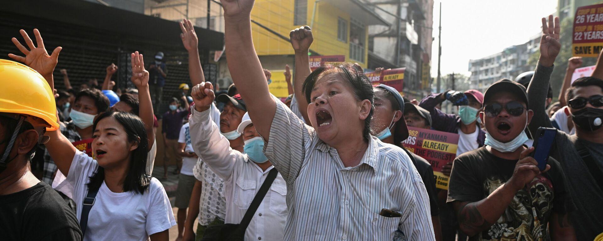 Protesty w Mjanmie - Sputnik Polska, 1920, 14.03.2021