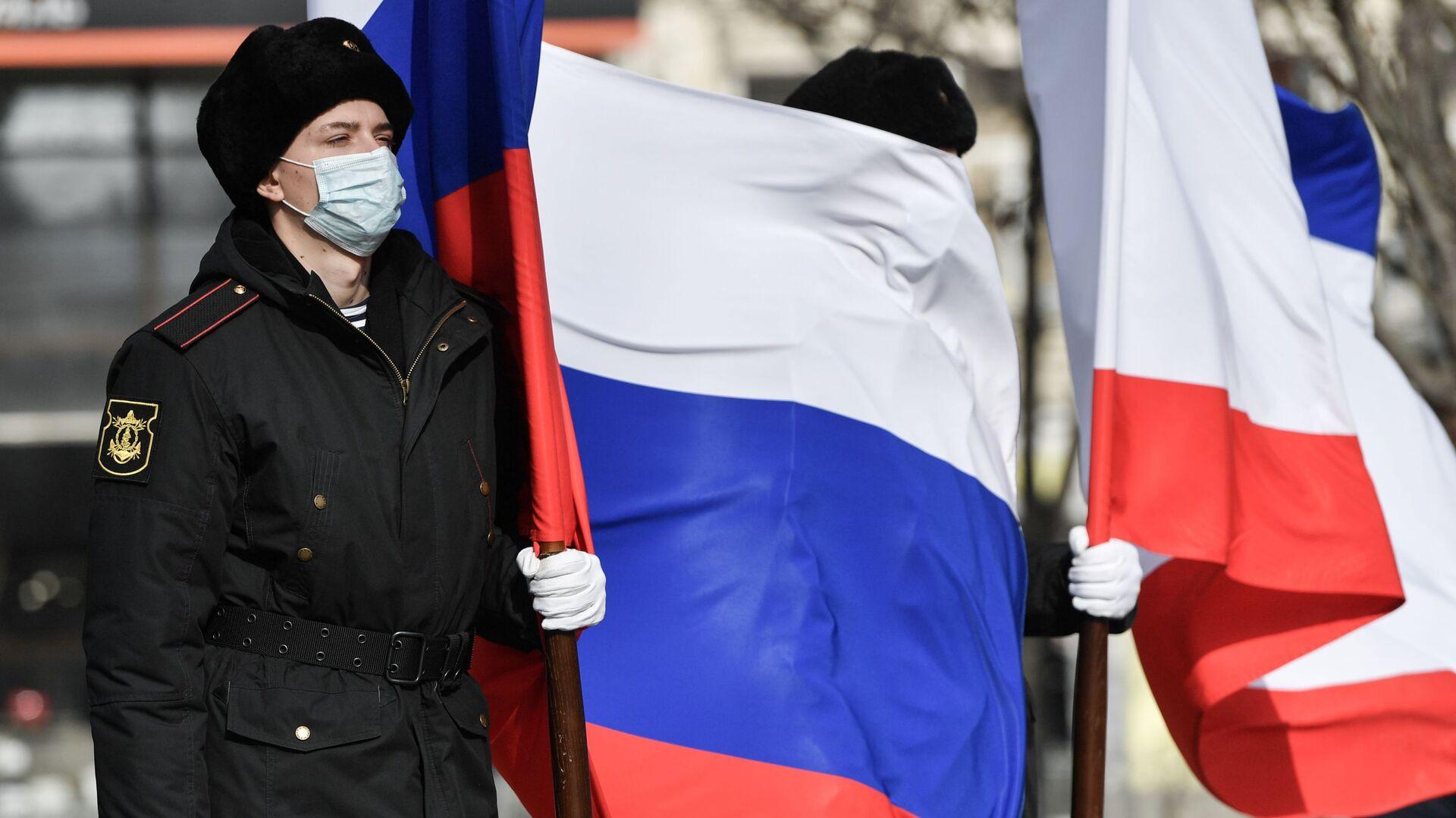 Uczestnicy wydarzeń poświęconych 7. rocznicy przyłączenia Krymu do Rosji. - Sputnik Polska, 1920, 29.09.2021