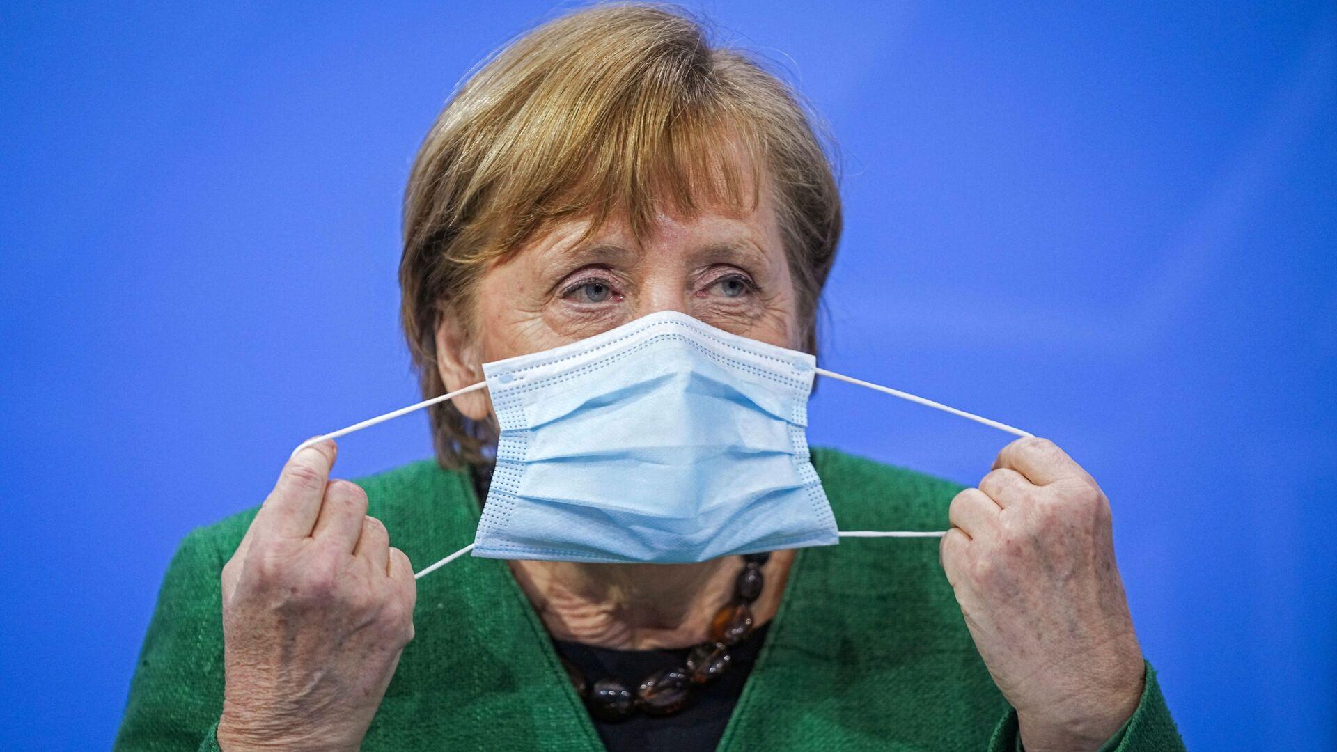 Kanclerz Niemiec Angela Merkel na konferencji prasowej w Niemczech - Sputnik Polska, 1920, 23.03.2021