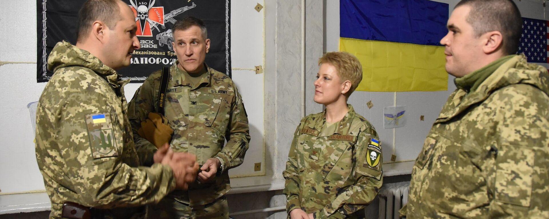 Delegacja USA, na której czele stała attaché wojskowa w Kijowie Brittany Stewart, odwiedziła w piątek rejon operacji wojskowej w Donbasie i zapoznała się z sytuacją operacyjną. - Sputnik Polska, 1920, 04.07.2021