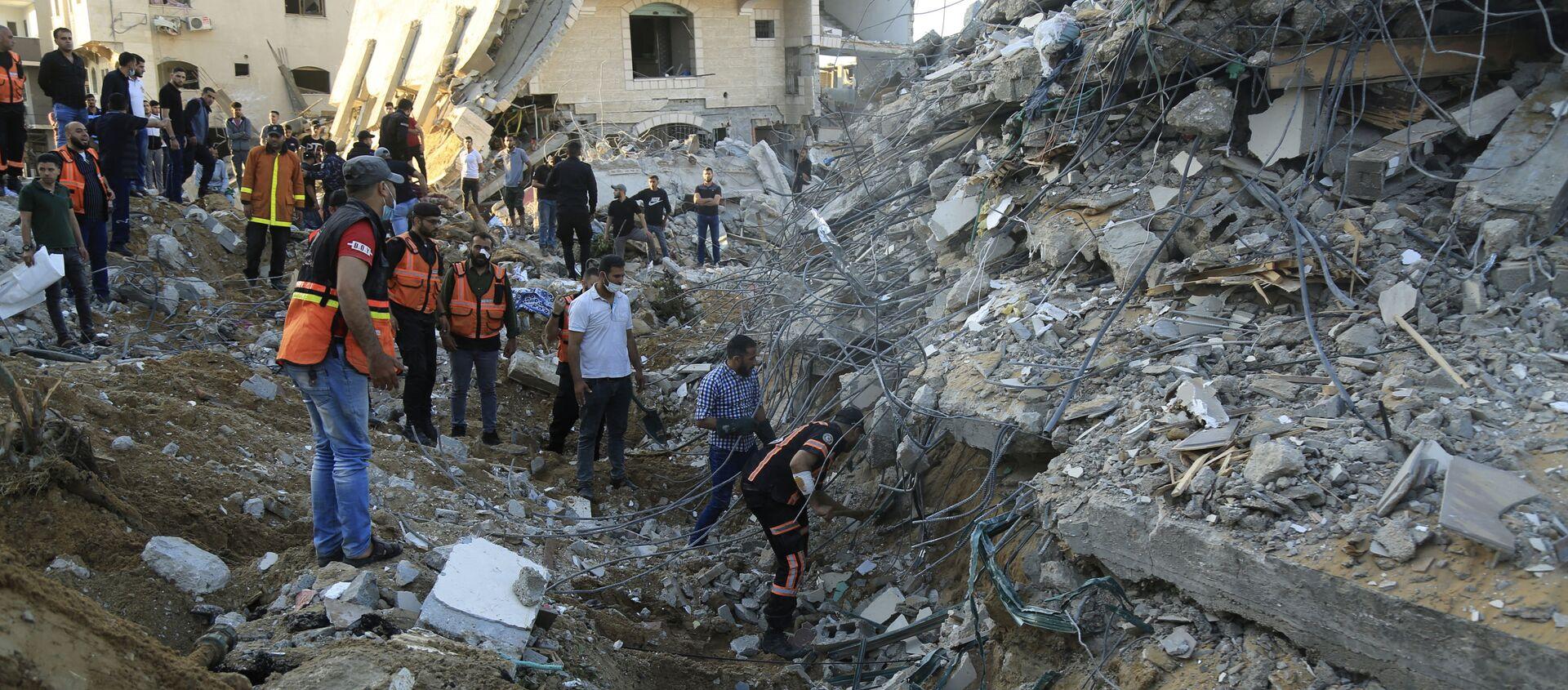 Dom na północy Strefy Gazy zniszczony w izraelskim nalocie. - Sputnik Polska, 1920, 16.05.2021