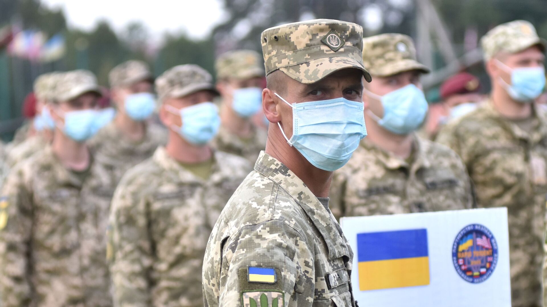 Ukraińscy żołnierze na ceremonii otwarcia wspólnych ćwiczeń wojskowych Ukrainy i państw NATO. - Sputnik Polska, 1920, 22.06.2021