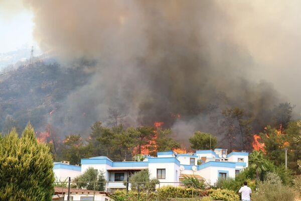 Ogień w pobliżu budynków mieszkalnych na wsi Türkevleri, w Bodrumie - Sputnik Polska