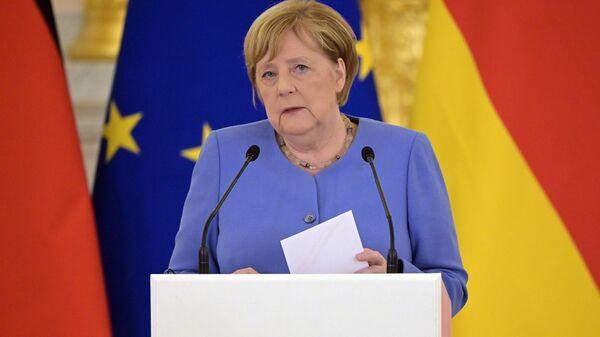 Федеральный канцлер Германии Ангела Меркель на пресс-конференции в Москве - Sputnik Polska