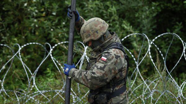Польша строит забор из колючей проволоки на границе в Беларусью - Sputnik Polska