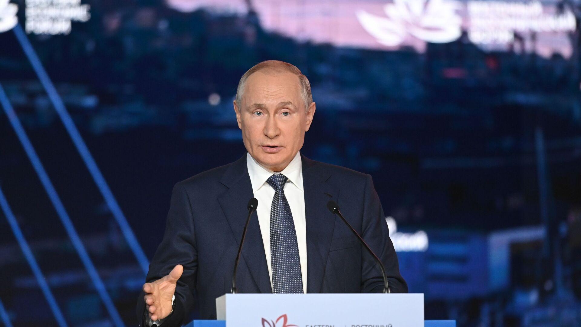 Władimir Putin na sesji plenarnej Wschodniego Forum Ekonomicznego 2021 - Sputnik Polska, 1920, 03.09.2021