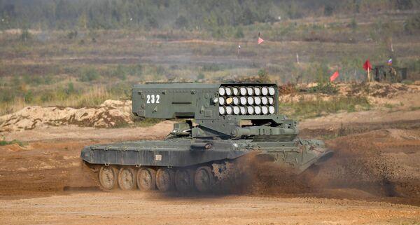 Ofensywę wspierały oddziały zapewniające mobilność, które składały się z czołgów z trałami, sprzętu inżynieryjnego i ciężkich miotaczy ognia TOS-1A Solncepiok. - Sputnik Polska