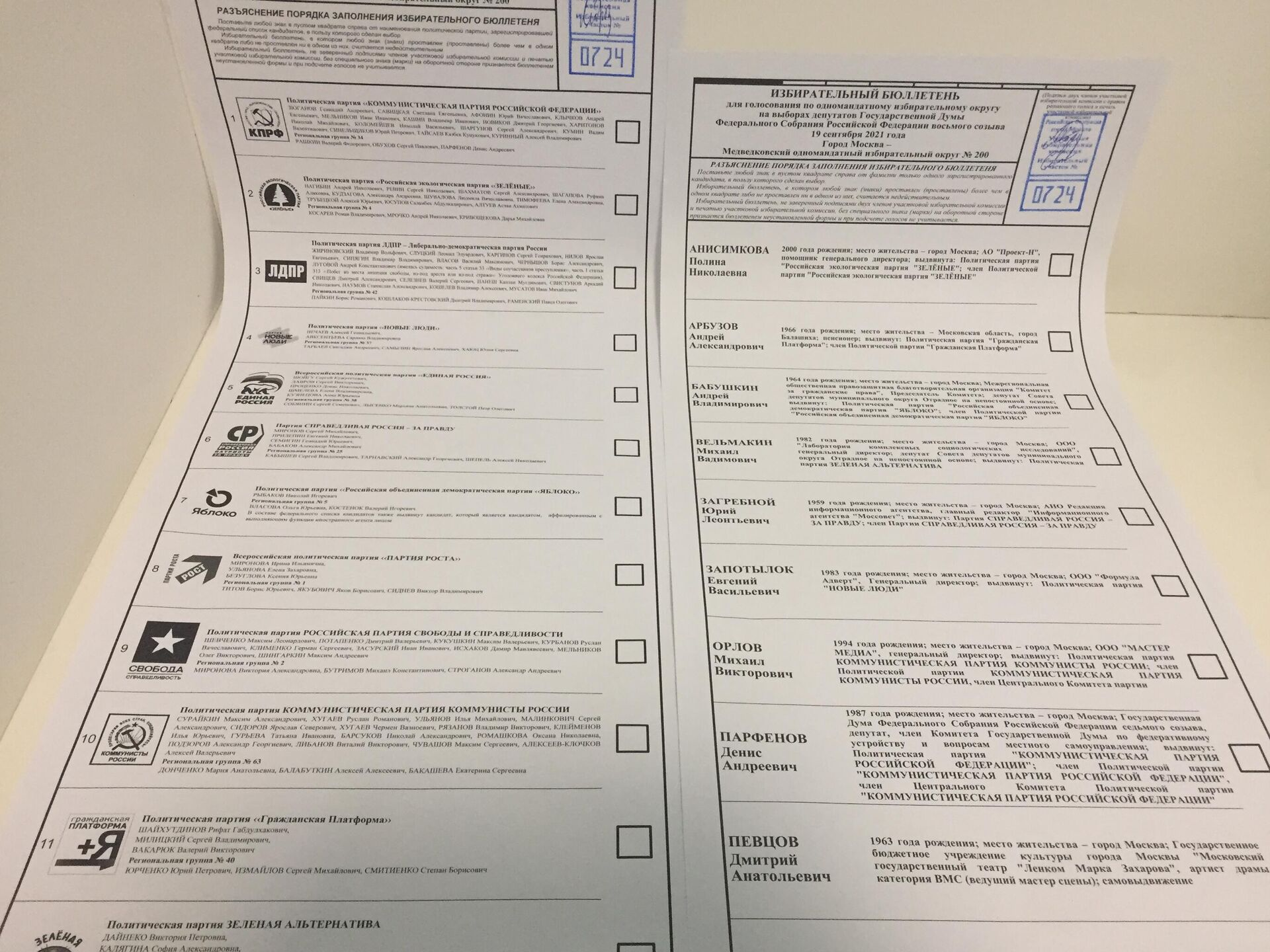 Karty do głosowania w wyborach parlamentarnych w Rosji, 2021 - Sputnik Polska, 1920, 19.09.2021