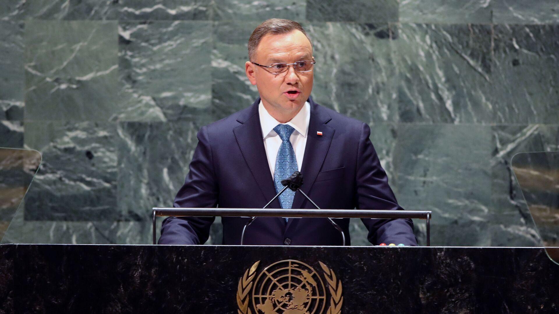 Prezydent Andrzej Duda podczas wystąpienia na Zgromadzeniu Ogólnym ONZ w Nowym Jorku - Sputnik Polska, 1920, 22.09.2021