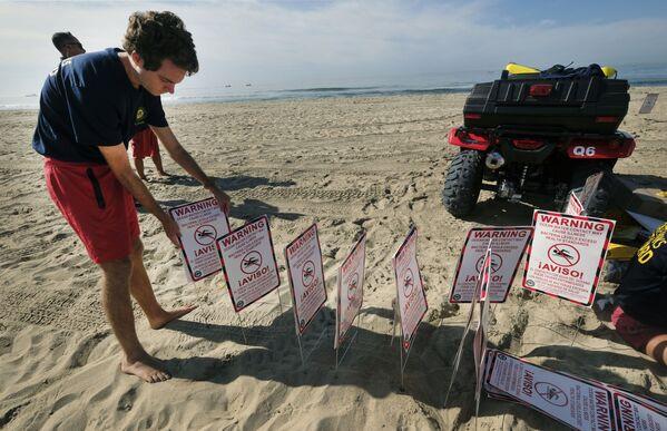 Zamknięcie plaży po wycieku ropy w Kalifornii - Sputnik Polska