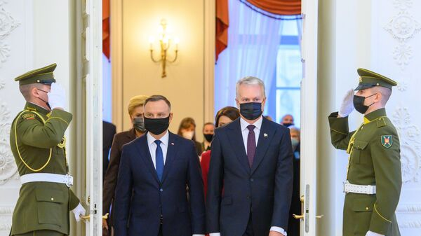 Президент Польши Анджей Дуда и президент Литвы Гитанас Науседа во время визита первого в Вильнюс - Sputnik Polska