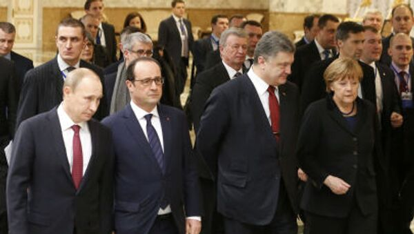 Spotkanie przywódców Rosji, Francji, Ukrainy i Niemiec w Mińsku - Sputnik Polska