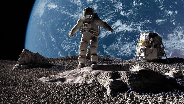Astronauci na tle planety Ziemia - Sputnik Polska
