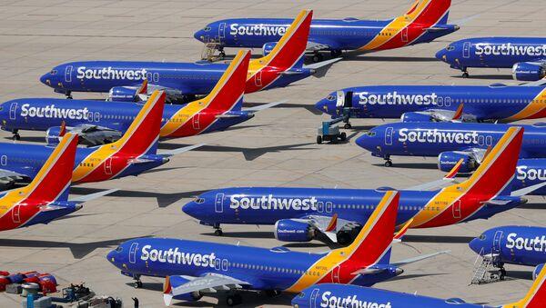 Samolot Boeing 737 MAX 8 należący do linii Southwest Airlines na lotnisku Victorville - Sputnik Polska