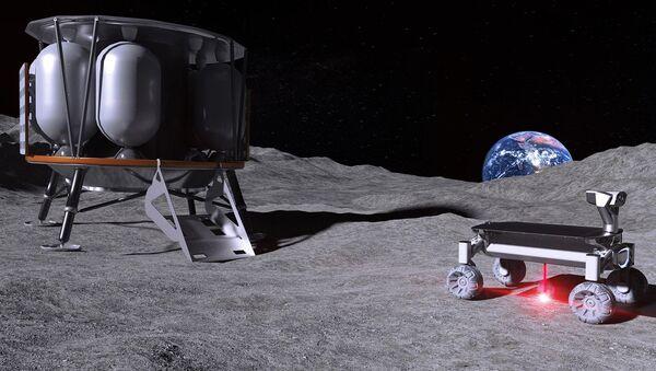 Wizualizacja nowego systemu laserowego Moonrise i pojazd księżycowy - Sputnik Polska