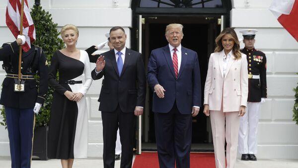 Prezydenci Polski i USA Andrzej Duda i Donald Trump wraz z małżonkami - Sputnik Polska