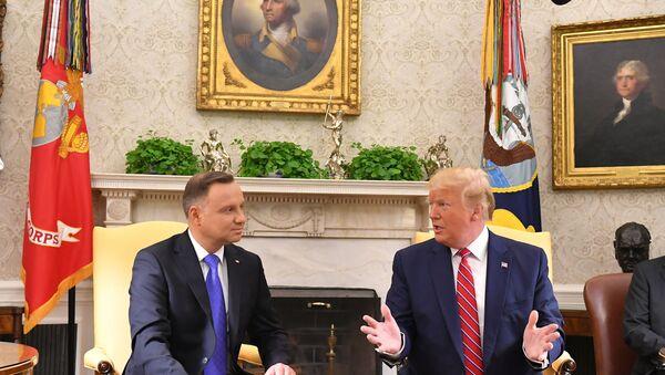Prezydent Polski Andrzej Duda i prezydent USA Donald Trump podczas spotkania w Białym Domu - Sputnik Polska