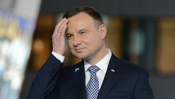 Andrzej Duda podczas spotkania NATO w Brukseli - Sputnik Polska