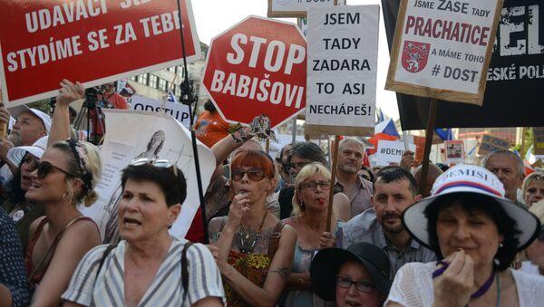 Protesty przeciwko Andrejowi Babišowi w Pradze - Sputnik Polska