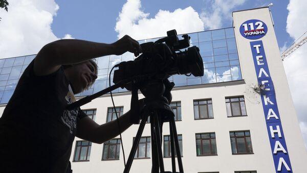 """Siedziba kanału telewizyjnego  """"112. Ukraina"""" ostrzelana z granatnika - Sputnik Polska"""