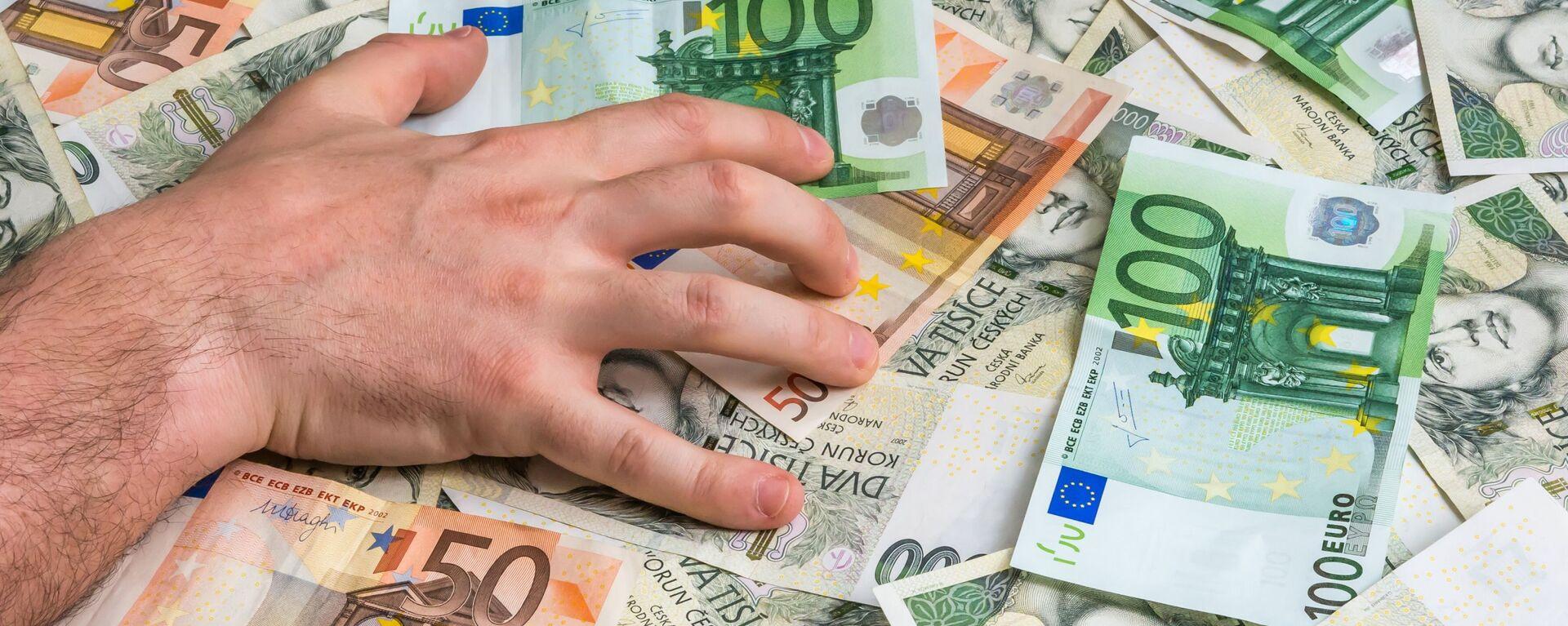 Ręka mężczyzny na banknotach euro i czeskich złotych - Sputnik Polska, 1920, 10.04.2021