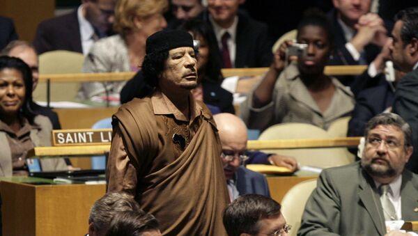 Mu'ammar al-Kaddafi na 64. Zgromadzeniu Ogólnym ONZ - Sputnik Polska