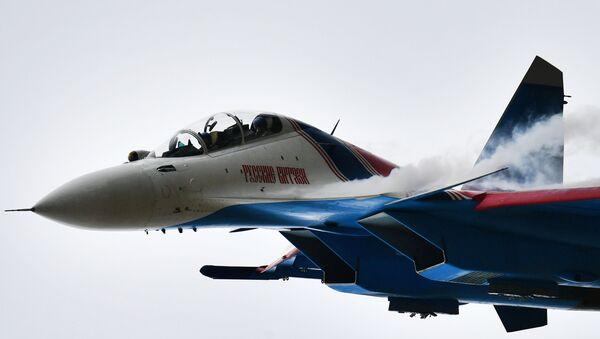 """Su-30 na ogólnorosyjskim etapie zawodów """"Aviadarts 2019"""" na poligonie lotniczym pod Riazaniem - Sputnik Polska"""