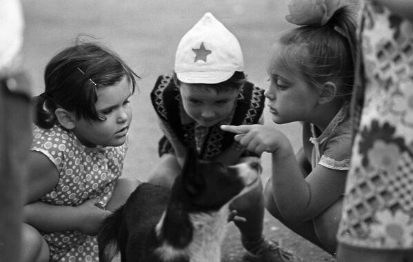 Dzieci bawią się z psem, 1976 rok  - Sputnik Polska