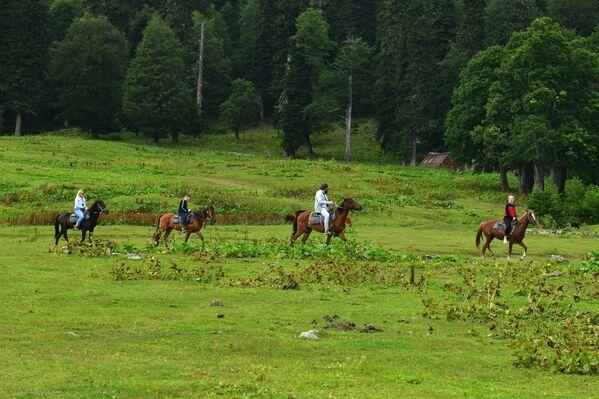 Turyści na koniach w Reliktowym Parku Narodowym w Abchazji   - Sputnik Polska
