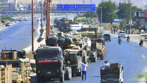 Kolumna samochodów Sił Zbrojnych Turcji w prowincji Idlib, Syria - Sputnik Polska