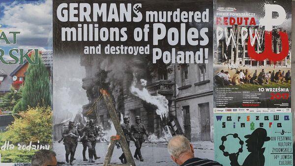 Plakat wzywający Niemcy do wypłaty powojennych reparacji Polsce  - Sputnik Polska