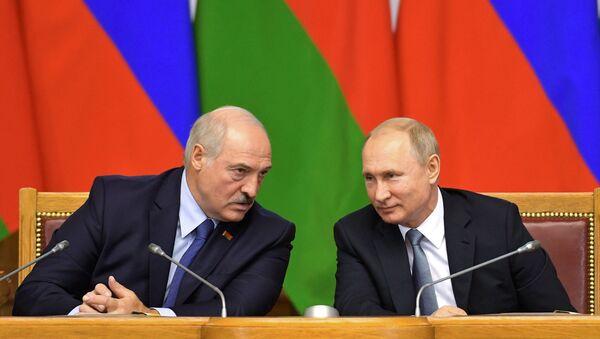 Prezydenci Rosji i Białorusi, Władimir Putin i Aleksander Łukaszenka - Sputnik Polska