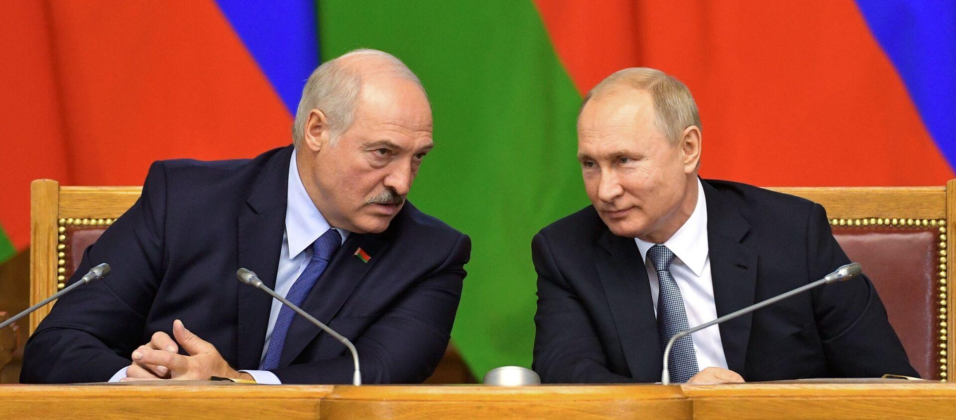 Prezydenci Rosji i Białorusi, Władimir Putin i Aleksander Łukaszenka - Sputnik Polska, 1920, 07.12.2019