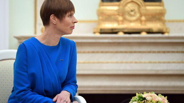 Prezydent Estonii Kersti Kaljulaid w czasie spotkania z prezydentem Rosji Władimirem Putinem - Sputnik Polska