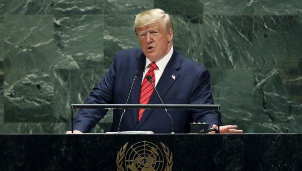 Donald Trump występuje na Zgromadzeniu Ogólnym ONZ - Sputnik Polska